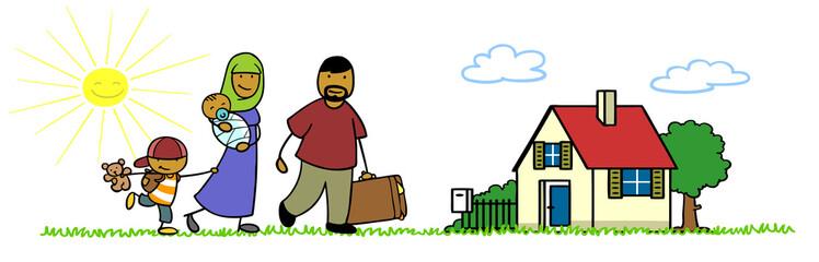 Islamische Familie beim Umzug in Haus