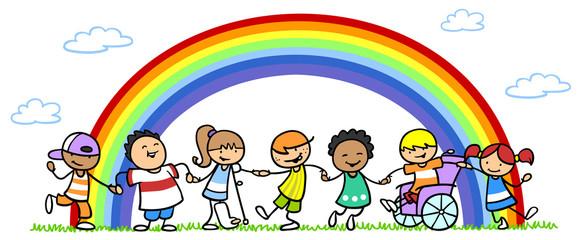 Integration und Inklusion bei einer Gruppe Kinder