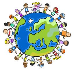 Gruppe Kinder halten Hände um Weltkugel