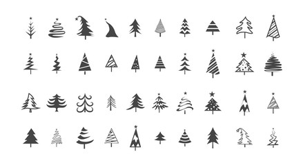 Icon set of cute christmas trees. Isolated illustration
