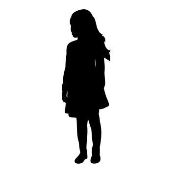 vector, isolated silhouette little girl in dress