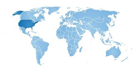 Fotorolgordijn Wereldkaart World map with a highlighted usa