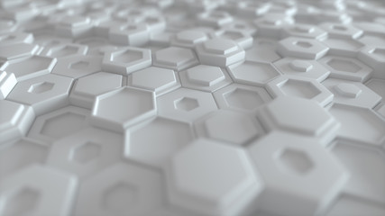 Hexagonal geometric background. Abstract structure of lots of different height hexagons. Creative honeycomb surface. Cell elements pattern. 3d rendering