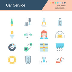 Car Service icons. Flat design collection 51. For presentation, graphic design, mobile application, web design, infographics.