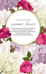 Template for greeting cards, wedding decorations, invitation, sales. Vector banner with Luxurious roses, tulip and hydrangea flowers. Spring or summer design. Space for text.