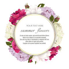 Template for greeting cards, wedding decorations, invitation, sales. Round Vector banner with Luxurious roses, tulips and hydrangea flowers. Spring or summer design.