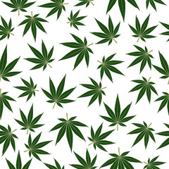 Marijuana or cannabis leafs seamless pattern background