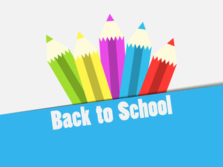 Back to School. Colorful pencil, banner. The beginning of the school year. Vector illustration