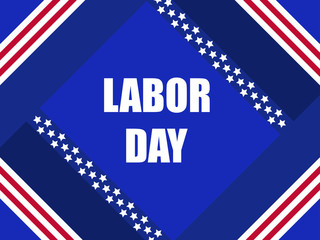 Labor Day. Greeting card with the flag of the USA. Festive blue background with stripes. Vector illustration