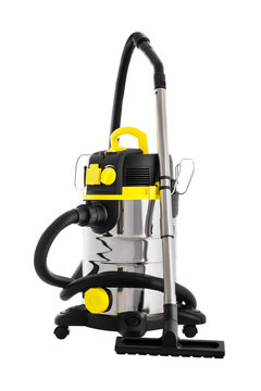 Vacuum cleaner isolated on white. Professional cleaning machine for wet and dry floors.