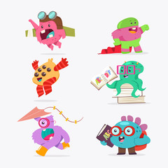 Cute cartoon baby monster set. Vector funny creature flat character isolated on a white background.