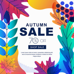Fall seasonall sale vector square banner with color gradients leaves. Abstract autumn illustration background.