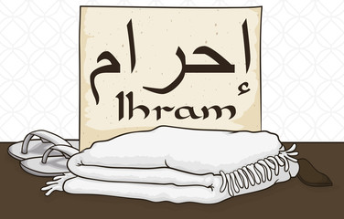 White Ihram Clothes, Sandals, Belt and Scroll to Celebrate Hajj, Vector Illustration