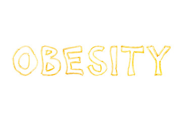 The word OBESITY made with pieces of fried French fries isolate on a white background