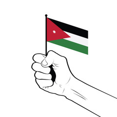 Clenched fist raised in the air holding the national flag of Jordan