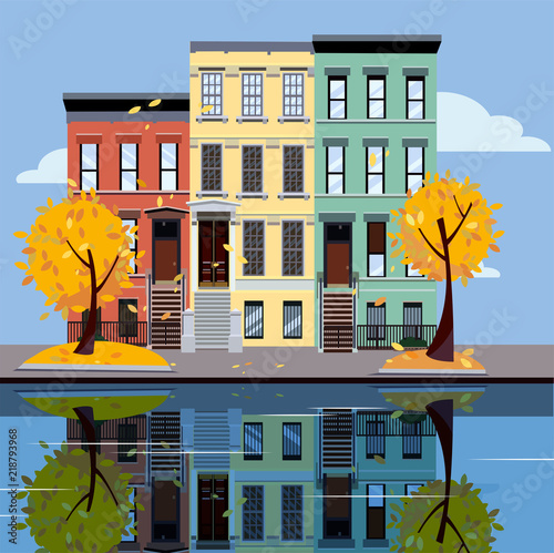 Colored Apartment Buildings On Lake Facades Of Are Reflected In Mirror Surface Water Flat Cartoon Vector Illustration Autumn City