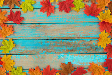 Beautiful frame composed of  autumn maple leaves on wood plank. nature fall season background.