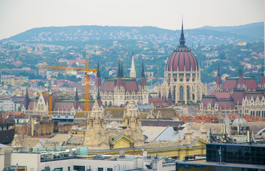 Panoramic view of Budapest city at daylight, Hungary