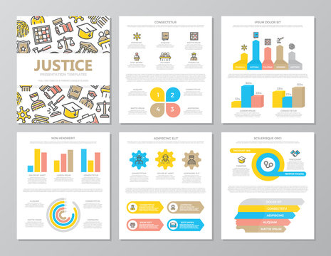 Set of colored crime, law, police and justice elements for multipurpose a4 presentation template slides with graphs and charts. Leaflet, corporate report, marketing, advertising, book cover design.