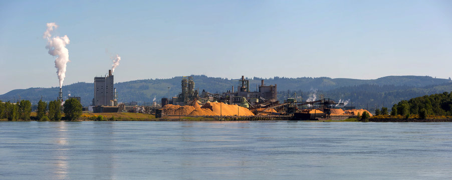 Paper Mill Along Columbia River Panorama