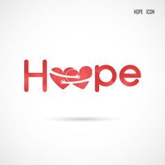 """""""Hope"""" typographical.Hope word icon.Breast Cancer October Awareness Month Campaign Background.Women health vector design.Breast cancer awareness logo design.Breast cancer awareness month icon."""