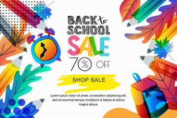 Vector back to school sale banner, poster background. Color leaves, pencils, clock, backpack on white background.