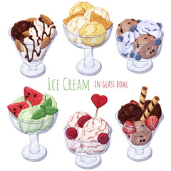 Group of vector colorful illustrations on the sweets theme; set of different kinds of ice-cream in bowls decorated with berries, chocolate or nuts. Pictures contain realistic shadows and glare.