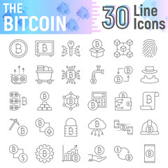 Bitcoin thin line icon set, cryptocurrency symbols collection, vector sketches, logo illustrations, finance signs linear pictograms package isolated on white background, eps 10.