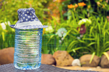 big plastic bottle fresh water hat