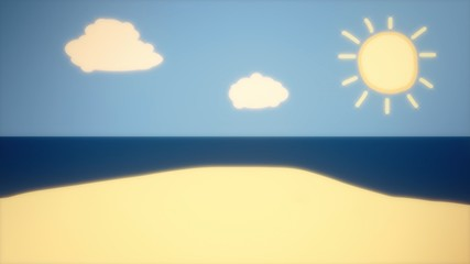 A cartoon of a sunny day at the beach. Moving clouds, hot sun rays. Warm color grading.