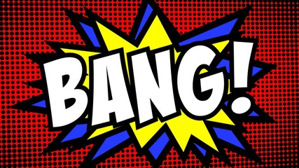 A comic strip cartoon, with the word Bang appearing. Green and halftone background, star shape effect.