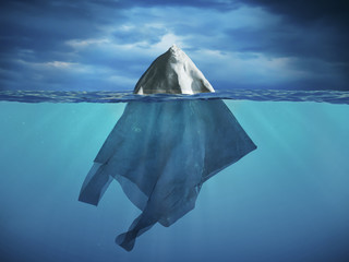 Plastic bag forming an iceberg