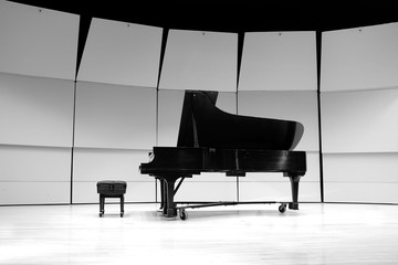 Black and White Piano on Concert Stage for Performance