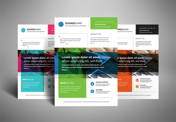 Business Flyer Layout with Two-Color Photo Overlay