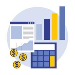 business calculator document statistics bar coins money