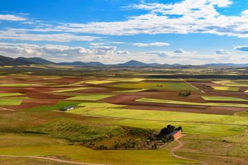 Spain. Castilla de la Mancha.Consuegra. Fields seen from the Calderico hill.