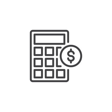 Calculator and dollar coin outline icon. linear style sign for mobile concept and web design. Money accounting simple line vector icon. Symbol, logo illustration. Pixel perfect vector graphics