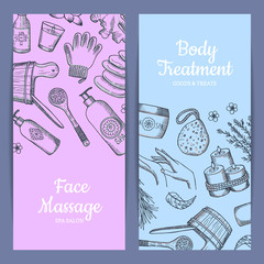 Vector hand drawn spa elements vertical web banners illustration