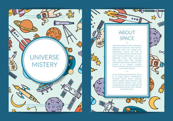 Vector hand drawn space science elements card