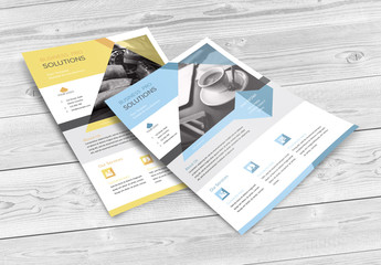 Business Flyer Layout with Geometric Shapes