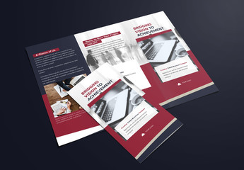 Trifold Brochure Layout with Dark Navy and Maroon Accents