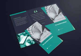 Trifold Brochure Layout with Dark Navy and Green Accents