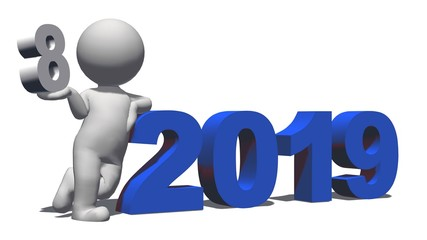 Year change to 2019 with 3D people - isolated on white background - 3D rendering