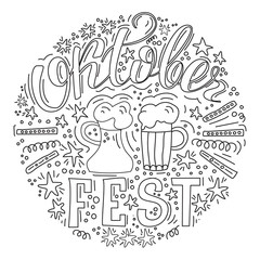 Hand drawn, doodle set with Hand lettered phrase OktoberFest. Sketch icons for invitation, flyer, poster, t-shirt design or blog. Isolated on white background