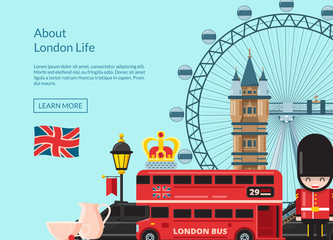 Vector cartoon London sights illustration