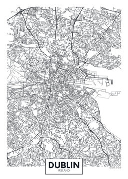 Vector poster detailed city map Dublin