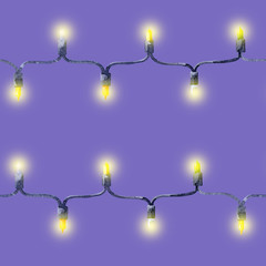 Seamless pattern of festive garland of light bulbs, watercolor illustration.