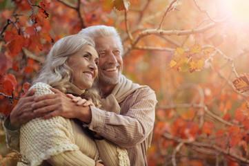 Portrait of a happy senior couple in park