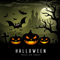Happy Halloween full moon three pumpkins, bat, tree, castle and full moon background vector
