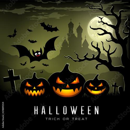 happy halloween full moon three pumpkins bat tree castle and full